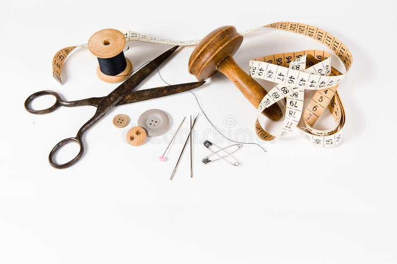 Tailor still life set on white background, vintage tools royalty free stock images