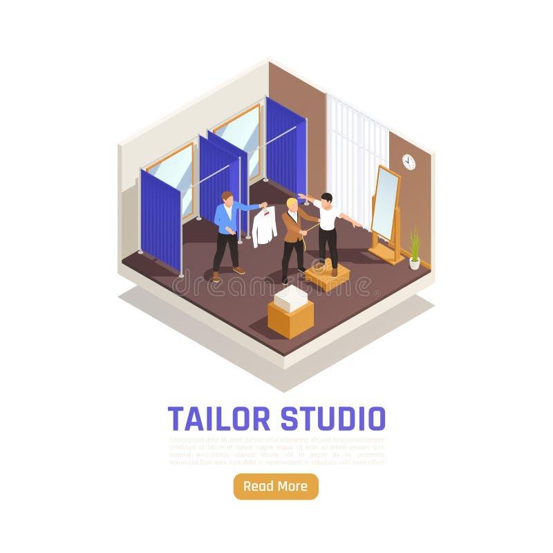 Tailor Studio Isometric Composition. Fashion atelier studio garment alteration service isometric composition with tailor measuring client assistant holding shirt royalty free illustration