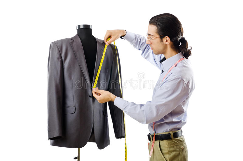 Download Tailor Working Isolated On White Stock Image - Image: 22653095