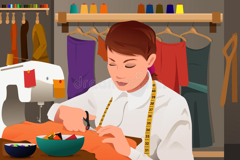 Tailor working with sewing machine vector illustration