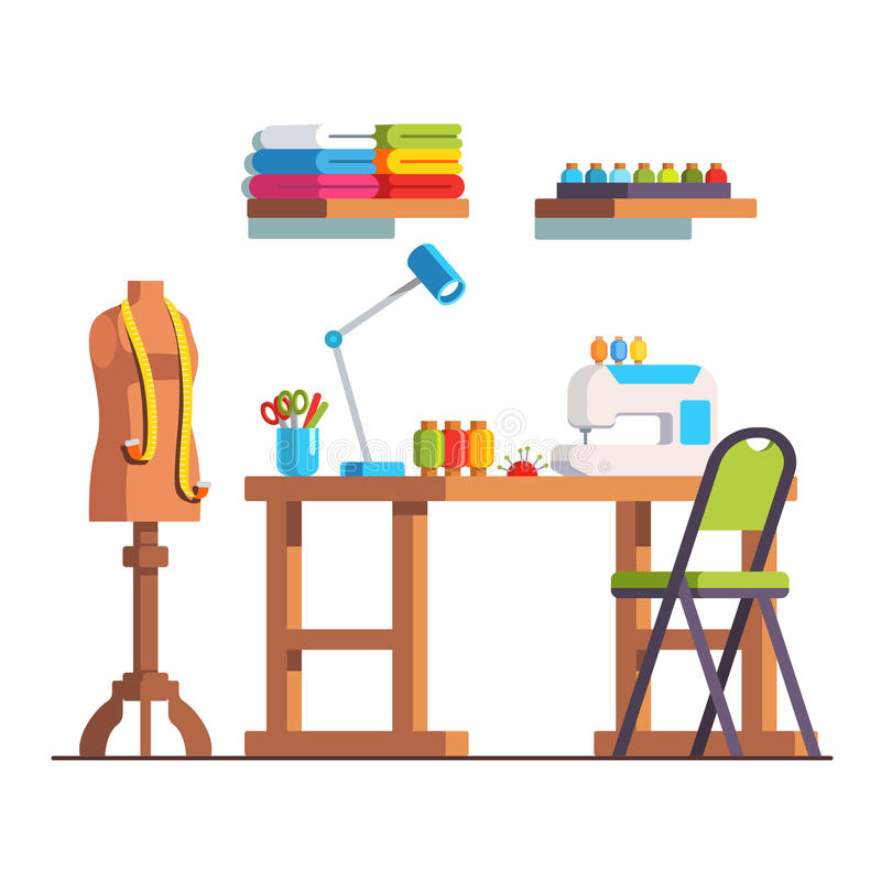 Tailor workshop room with sewing machine and desk. Tailor workshop interior design with sewing machine, desk, mannequin, fabric, tools. Seamstress room royalty free illustration