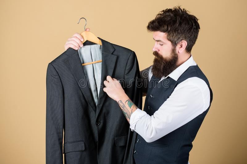 Tailoring and clothes design. Perfect fit. Custom made to measure. Tailored suit concept. Fashion for business people royalty free stock images