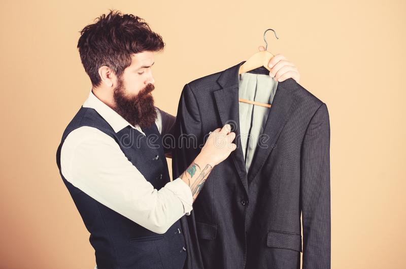 Tailoring and clothes design. Perfect fit. Custom made to measure. Tailored suit concept. Fashion for business people stock image