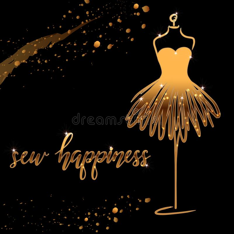 Tailoring emblem with mannequin or dummy and banner with lettering sew happiness. Fashion and tailoring logo design. Vector. Tailoring emblem with mannequin or vector illustration