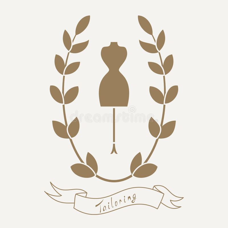 Tailoring emblem with mannequin or dummy. Floral wreath and banner. Fashion and tailoring logo design. Vector vector illustration