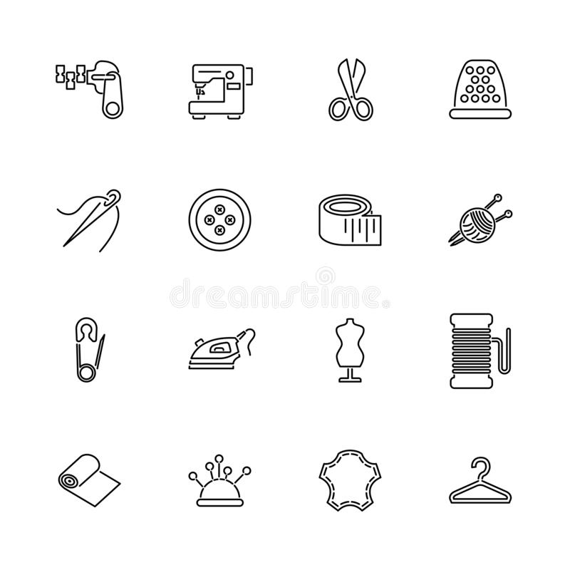 Tailoring - Flat Vector Icons stock illustration