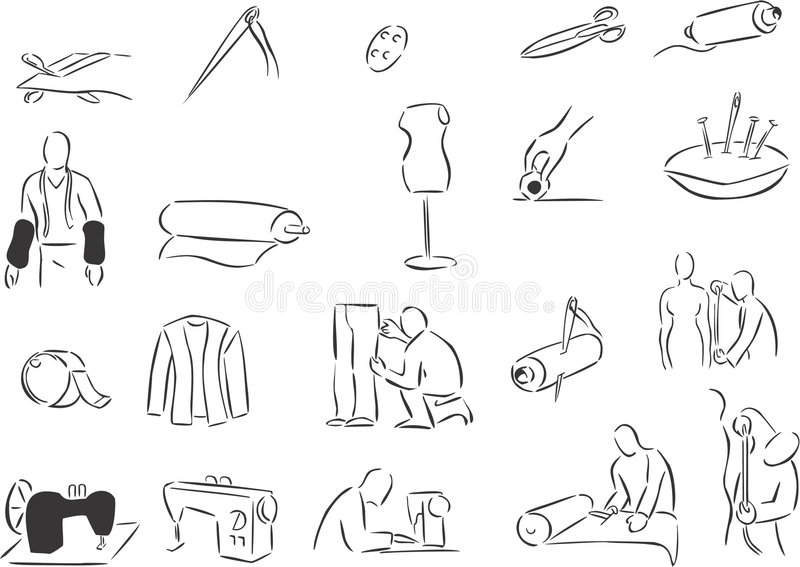 Download Tailors stock vector. Image of black, illustration, drawing - 7142798