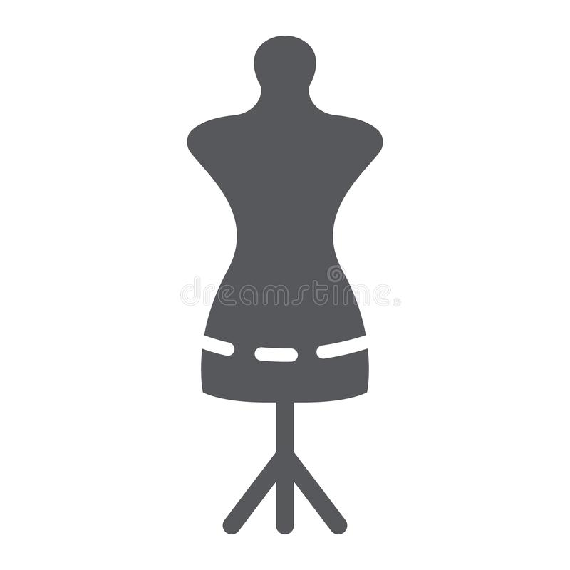 Tailors dummy glyph icon, dressmaker and tailor, mannequin sign, vector graphics, a solid pattern on a white background. Tailors dummy glyph icon, dressmaker stock illustration