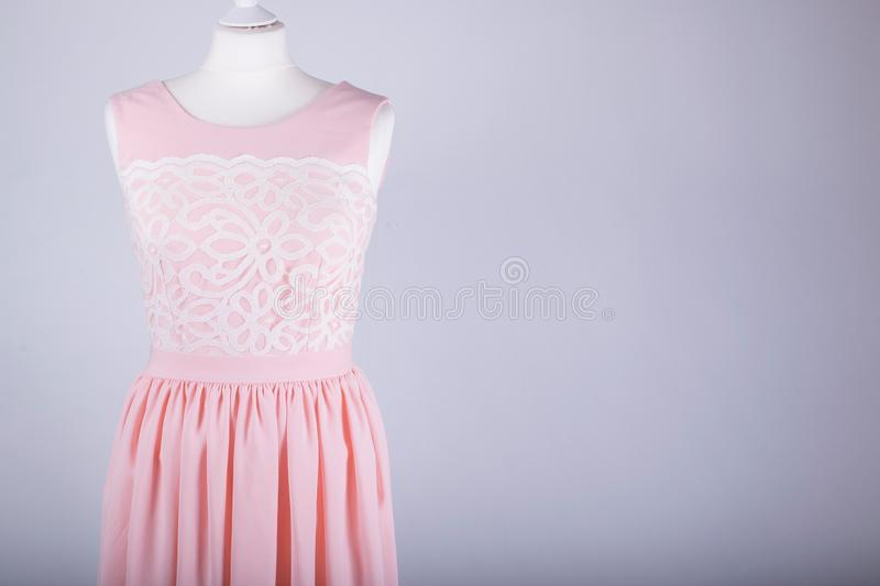 Tailors Mannequin dressed in a Pink Dress stock images