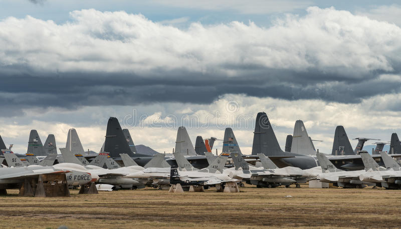 Tails of retired air force planes in Tucson stock photo