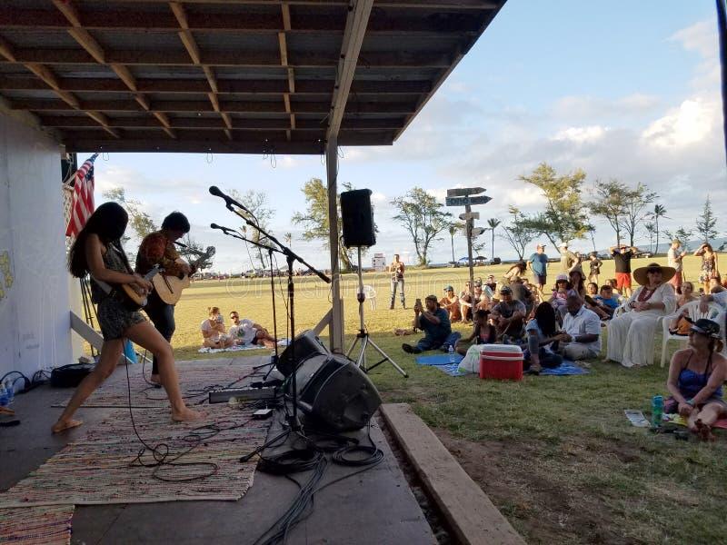 Taimane och musikband som spelar på Hawaii Polo Club royaltyfria bilder