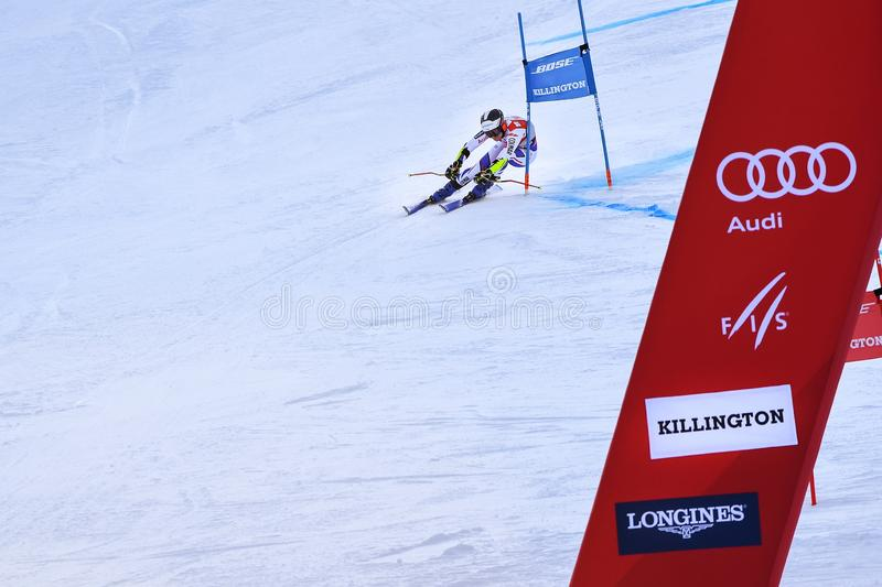 Taina Barioz of France competes in the first run of the Giant Slalom. KILLINGTON, VERMONT - NOVEMBER 24: Taina Barioz of France competes in the first run of the royalty free stock photo
