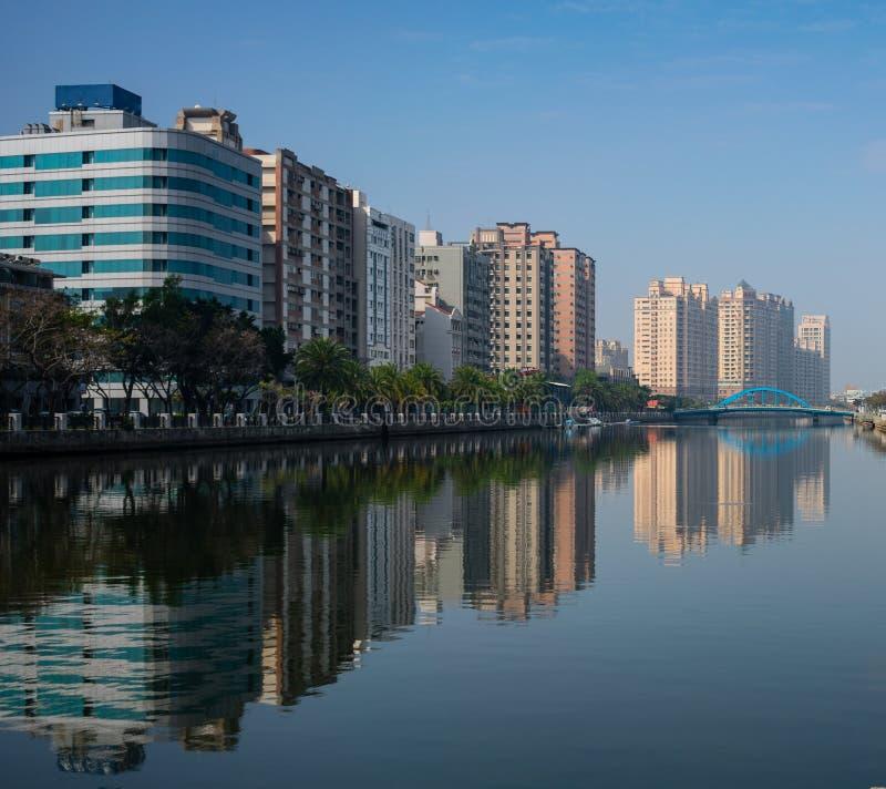 Tainan Anping kanałowy rzeczny widok z budynkami nawadnia odbicie a zdjęcia stock