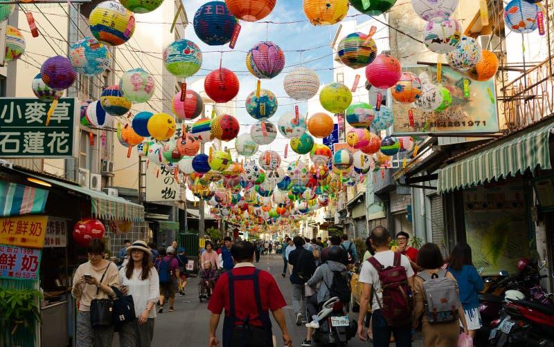 Tainan latarniowego festiwalu ulicy widok obrazy stock