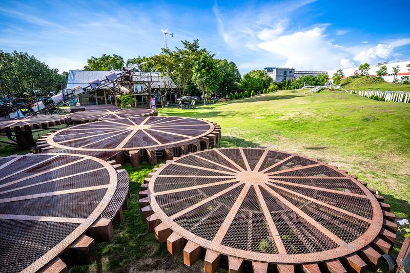 TAINAN, TAIWAN August 2, 2018: Ten drum culture area in Tainan stock images