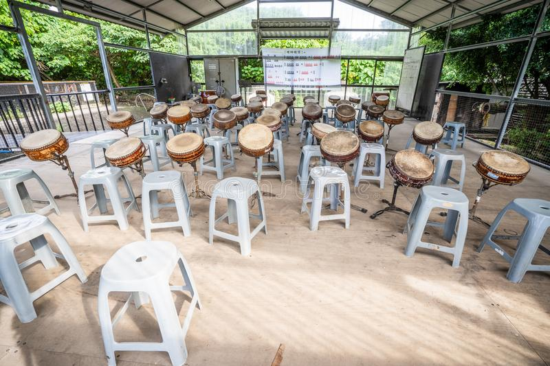 TAINAN, TAIWAN August 2, 2018: Ten drum culture area in Tainan royalty free stock image