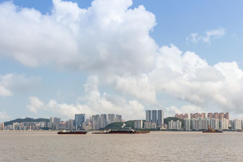 Taipa island viewing from Macau Peninsula royalty free stock image