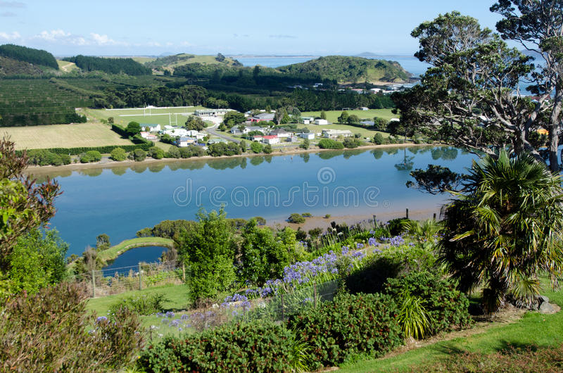 Taipa - Northland New Zealand NZ. Aerial view of Taipa town and river in Northland, New Zealand stock photo