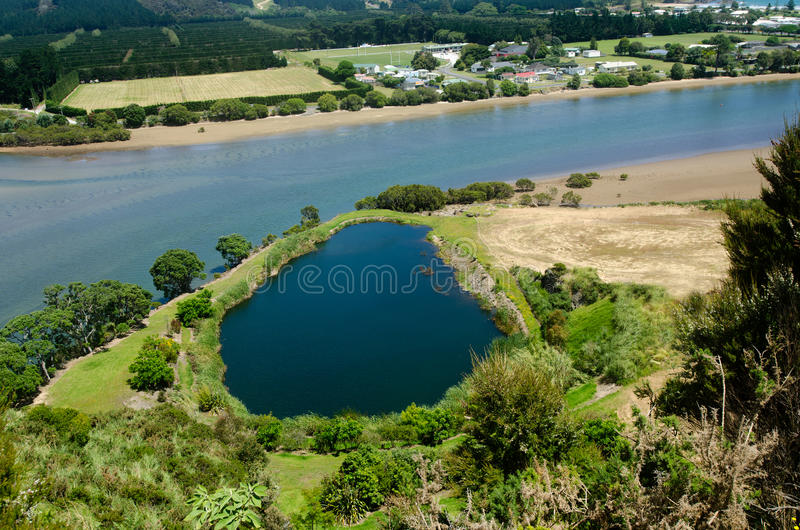 Taipa river - Northland New Zealand NZ. Aerial landscape view of Taipa river at Doubtless Bay in Northland, New Zealand stock photo