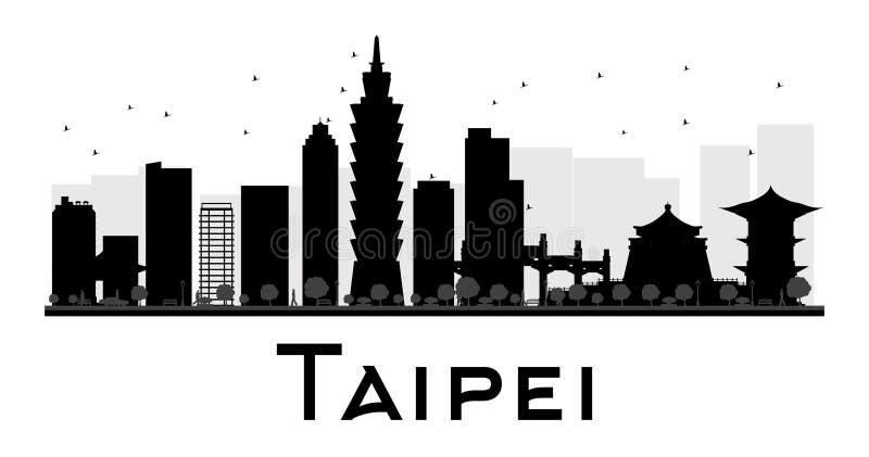 Taipeh-Stadtskyline-Schwarzweiss-Schattenbild vektor abbildung