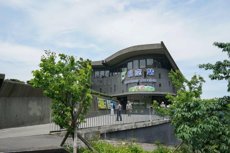 Taipeh, Taiwan - 20. April 2018: Unbekannter Tourist an der Maokong-Station, die abschließende Station des Maokong-Gondel-Drahtse stockbild