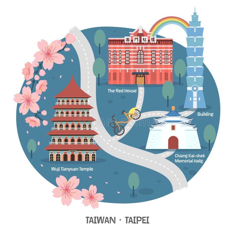 Taipeh-Wegkarte stock abbildung