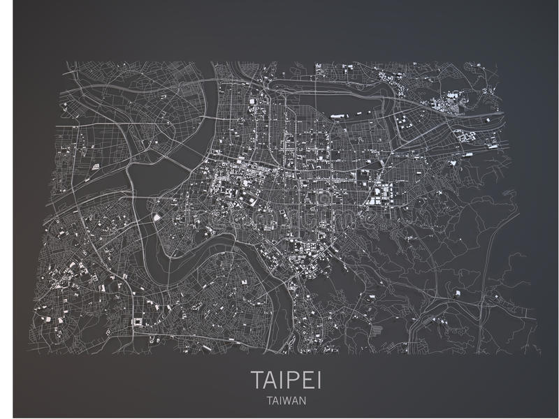 Taipei översikt, satellit- sikt, Taiwan, 3d royaltyfri illustrationer