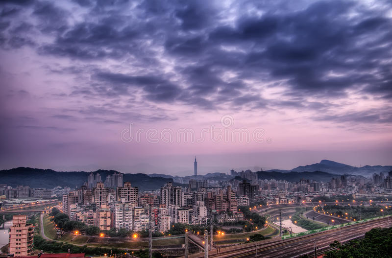 Taipei. Cityscape and skyscraper of famous landmark the 101 buildings royalty free stock photo
