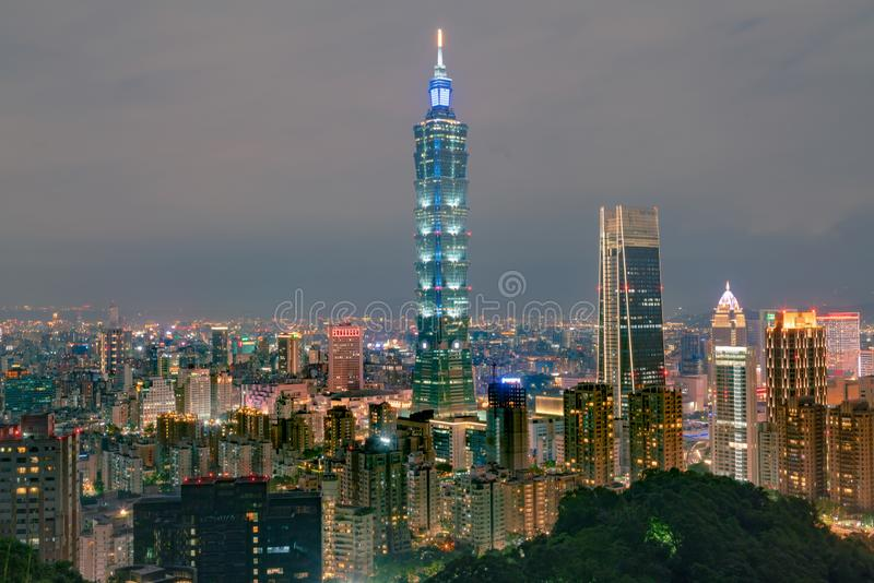 Taipei city night light central business downtown stock photo