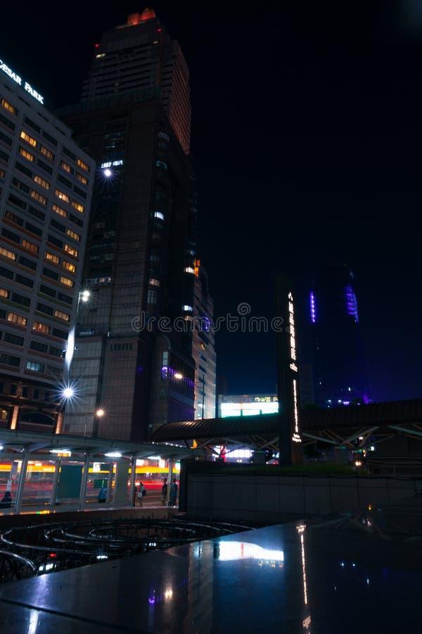 Taipei city at night, vertical urban photo stock photos