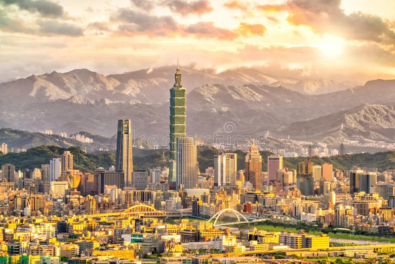 Taipei city skyline landscape at sunset time. In Taiwan stock photography