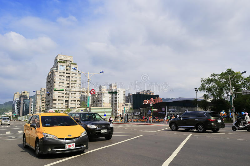 Taipei cityscape in cloudy day. Traffic and cityscape, taipei city, taiwan royalty free stock image