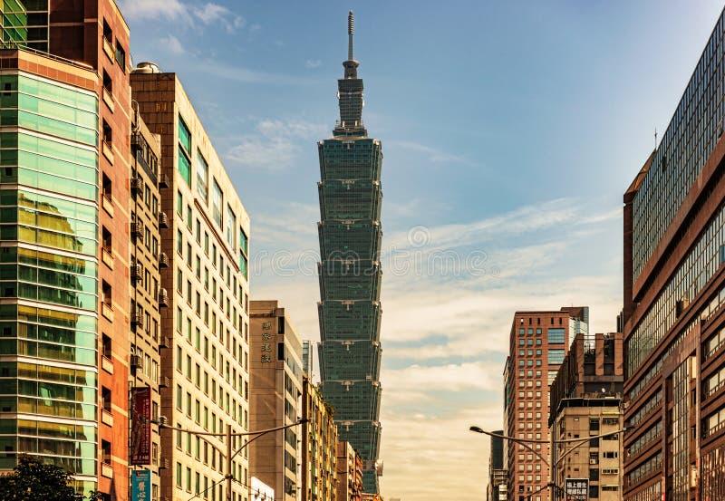 Taipei 101 famous landmark tower, building. Taipei, Taiwan - January 16, 2018: View at the buildings and Taipei 101 famous landmark tower, building at the royalty free stock image