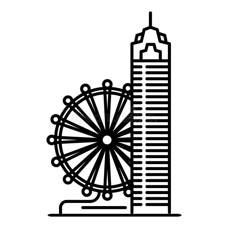 Taipei ferris koła ikona, konturu styl ilustracji