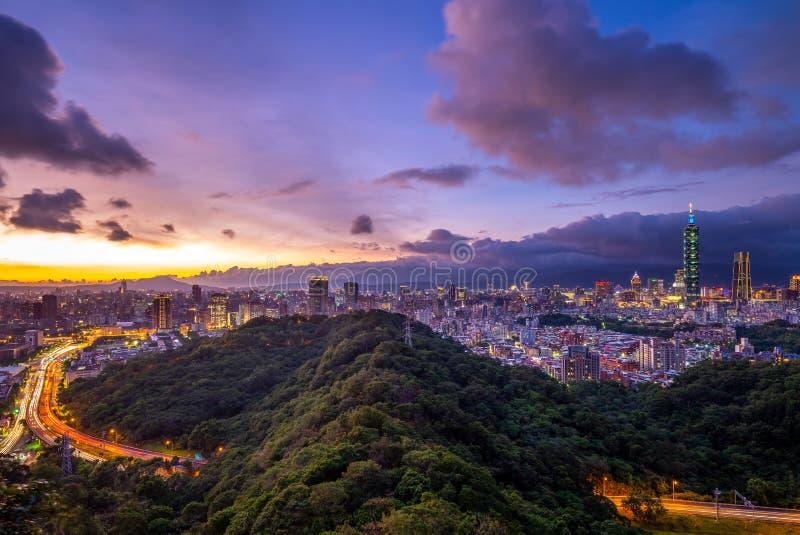 Panoramic view of taipei city at night royalty free stock photos