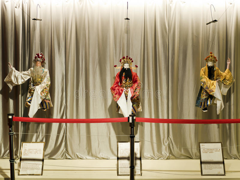 Taipei,Glove puppetry. Taipei, Taiwan - OCT 06, 2015: Glove puppetry in Puppetry Art Center of Taipei.a type of opera using cloth puppets that originated during stock photography