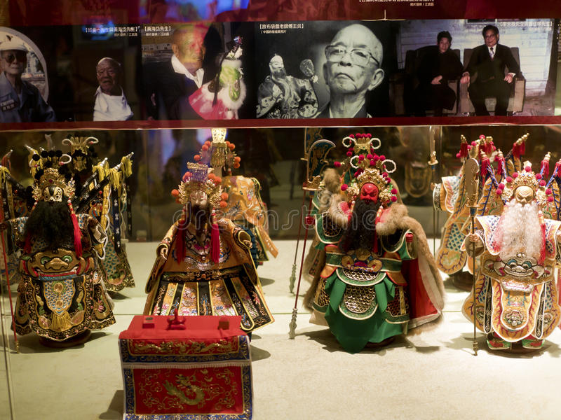 Taipei,Glove puppetry. Taipei, Taiwan - OCT 06, 2015: historic character Glove puppetry in Puppetry Art Center of Taipei.a type of opera using cloth puppets that royalty free stock photo