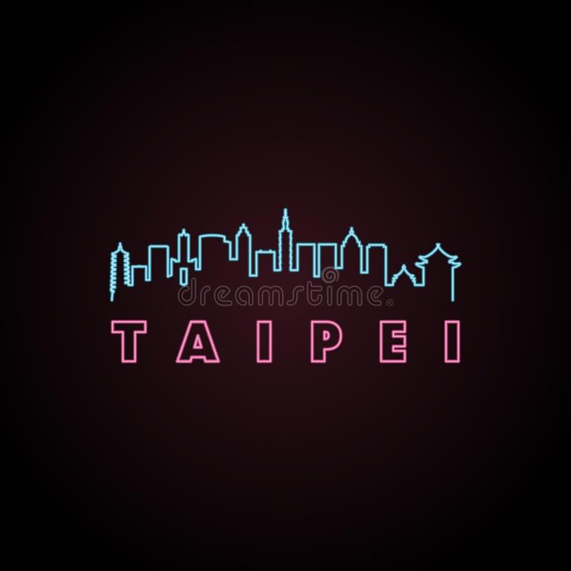 Taipei linii horyzontu neonowy styl ilustracja wektor