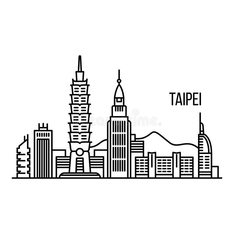 Taipei metropolis concept background, outline style. Taipei metropolis concept background. Outline illustration of taipei metropolis vector concept background vector illustration