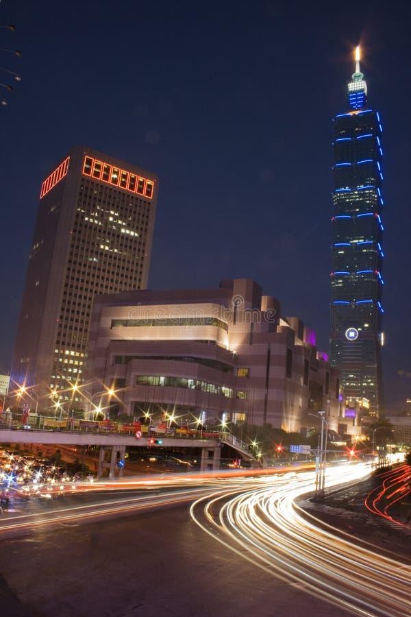 Taipei na noite fotografia de stock royalty free