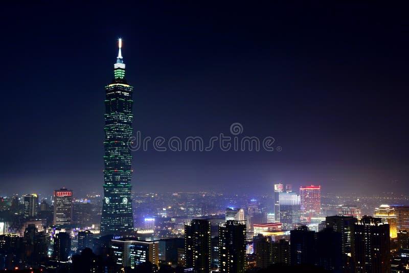 Taipei på natten 免版税库存照片