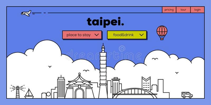 Taipei sieci sztandaru Nowożytny projekt z Wektorowym Liniowym linia horyzontu royalty ilustracja