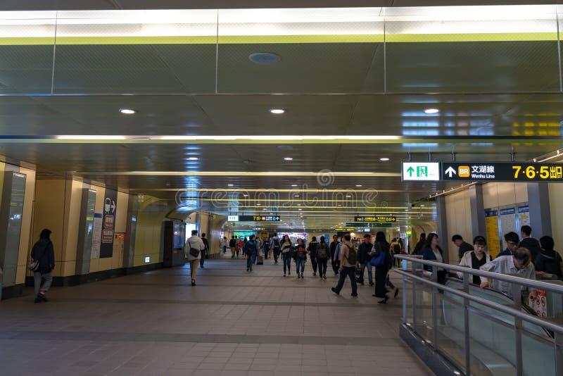 Taipei stacji metrej platforma i sala fotografia stock