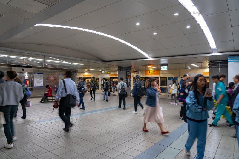 Taipei stacji metrej platforma i sala obrazy stock