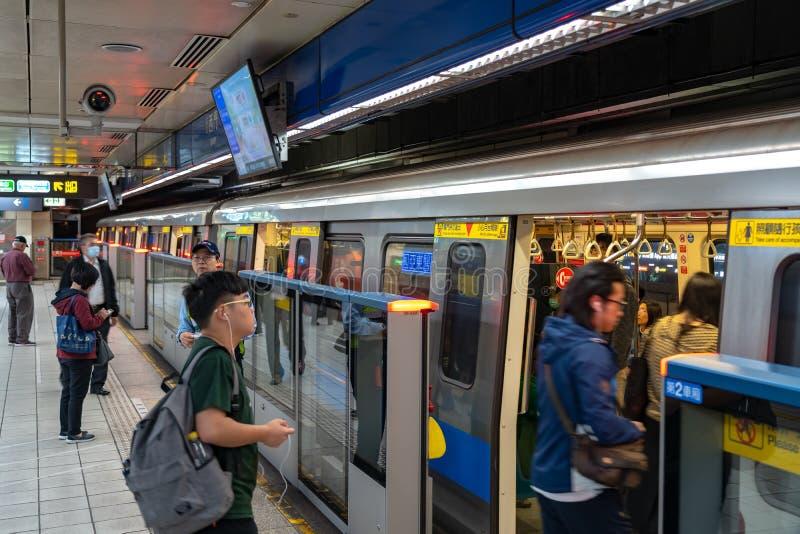 Taipei stacji metrej platforma i sala obraz stock