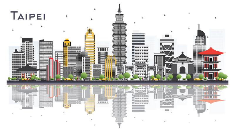 Taipei Taiwan City Skyline with Gray Buildings Isolated on White. Background. Vector Illustration. Business Travel and Tourism Concept. Taipei Cityscape with royalty free illustration