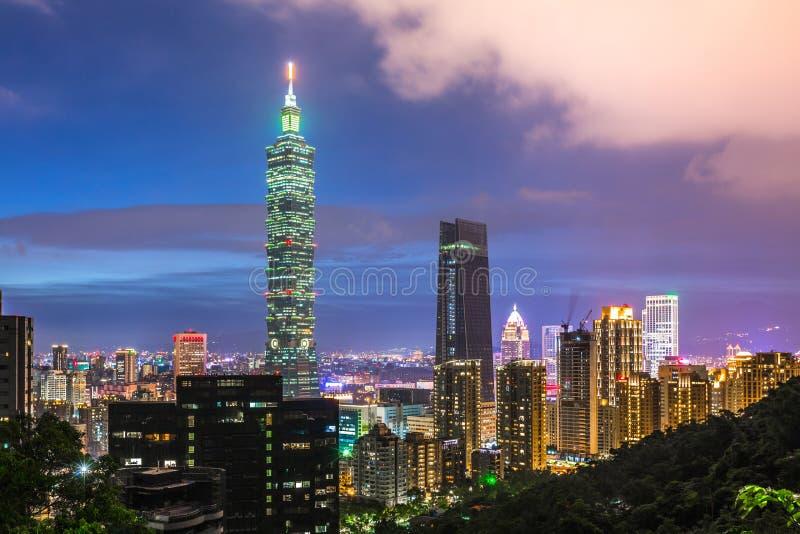 Taipei, Taiwan city skyscraper and city skyline at twilight. stock photos