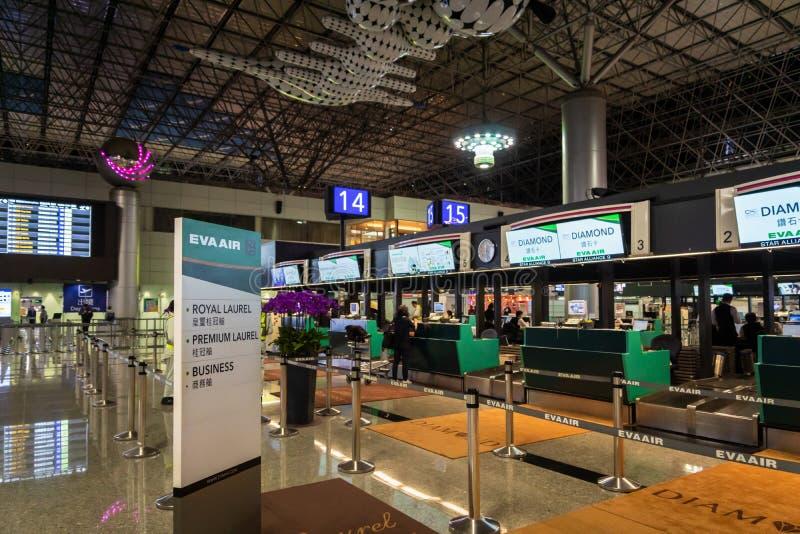 Eva Air check-in counter in Taipei  Taoyuan International Airport. stock images