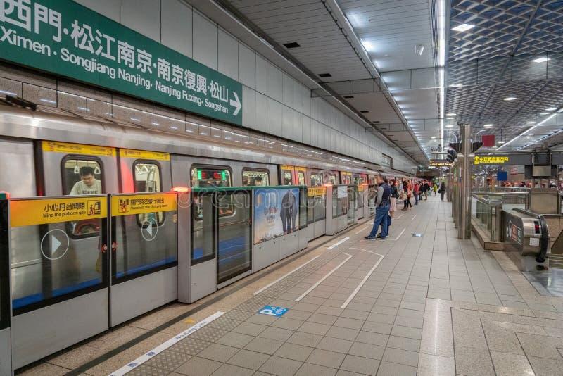 Taipei MRT  station platform in Taipei, Taiwan. Taipei, Taiwan - February 2019: Taipei MRT  station platform. Taipei Metro, is a metro system serving Taipei stock photos
