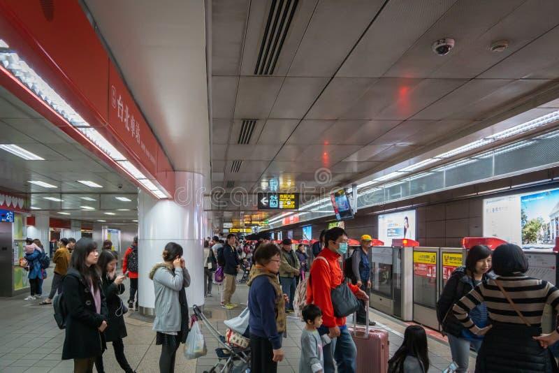 Taipei MRT  station platform in Taipei, Taiwan. Taipei, Taiwan - February 2019: Taipei MRT  station platform. Taipei Metro, is a metro system serving Taipei royalty free stock image